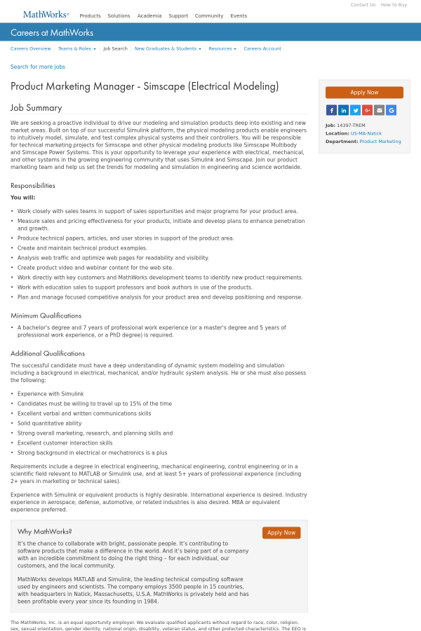 Product Marketing Manager - Simscape (Electrical Modeling) job at ...