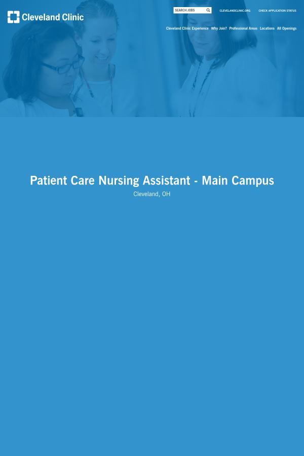 Patient Care Nursing Assistant - Main Campus job at