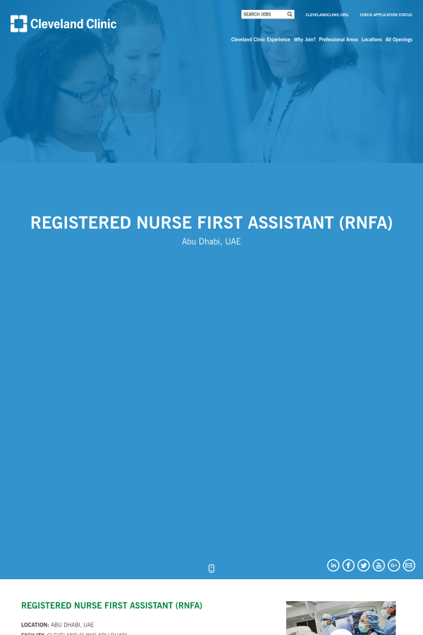 Registered Nurse First Assistant Rnfa Job At Cleveland Clinic In