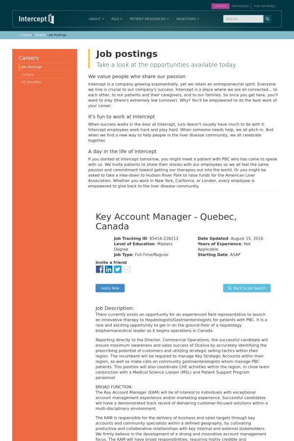 Key Account Manager - Quebec, Canada job at Intercept ...