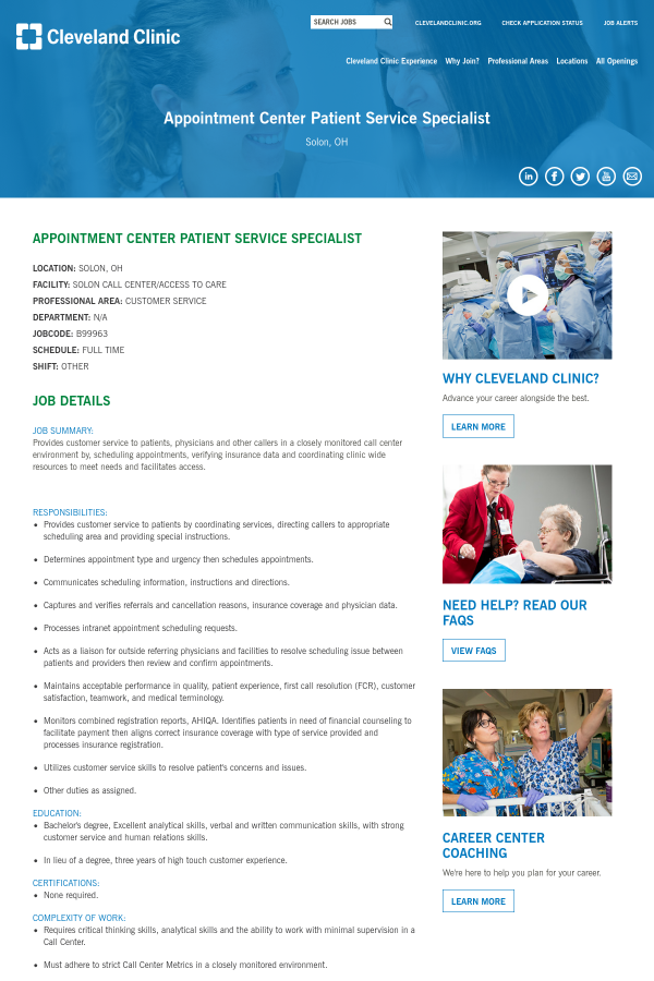 Appointment Center Patient Service Specialist job at