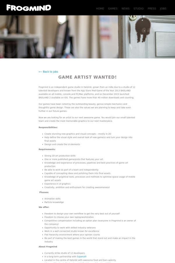 Game Artist job at Frogmind in Helsinki, Finland - 4987955