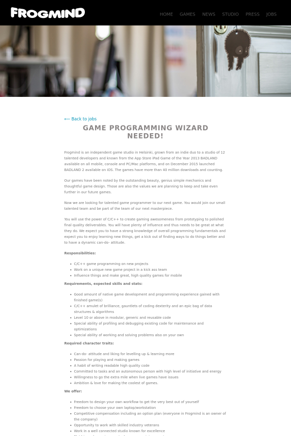Game programming wizard job at frogmind in helsinki finland you solutioingenieria Image collections