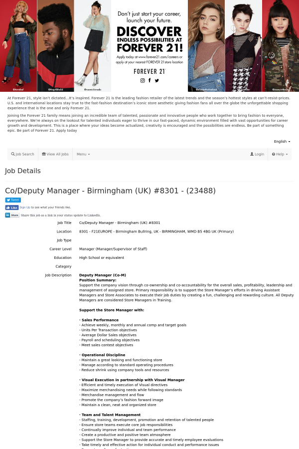 Co Deputy Manager Job At Forever 21 In Birmingham United Kingdom