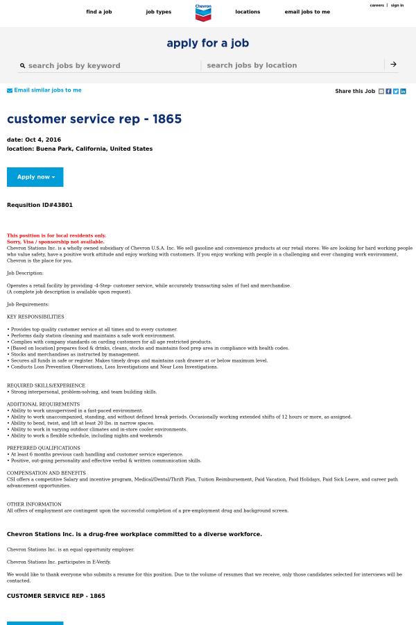 Customer Service Representative Job At Chevron In Buena Park