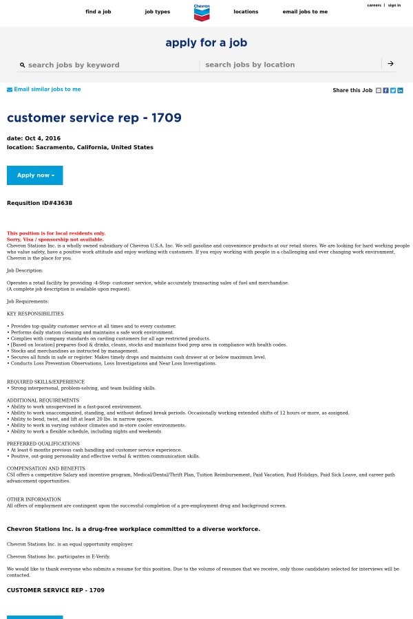 customer service requirements for a job