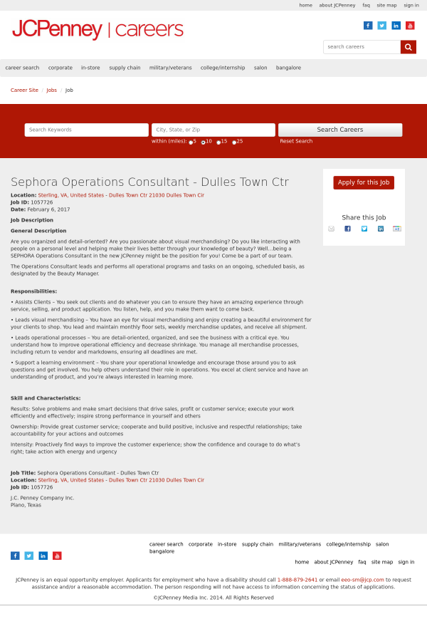 Sephora Operations Consultant job at JCPenney in Sterling, VA ...