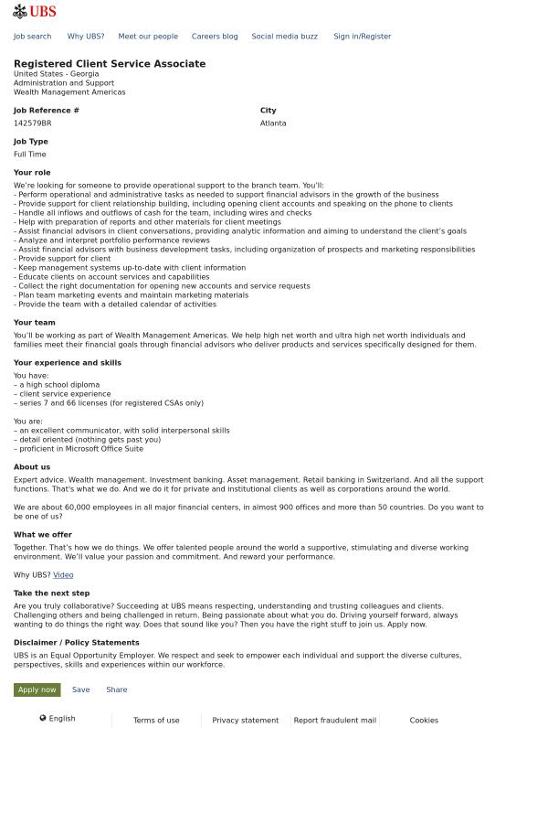 Registered Client Service Associate job at UBS in Atlanta