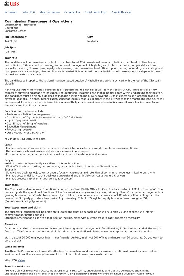 Commission Management Operations job at UBS in Nashville, TN