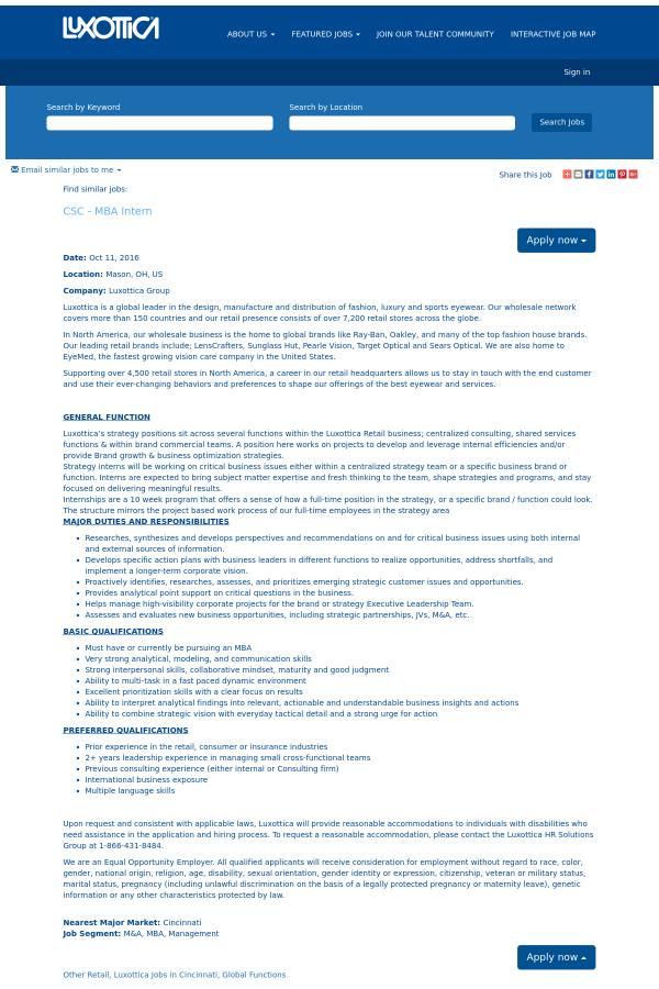 CSC - MBA Intern job at Oakley in Mason, OH - 5440889