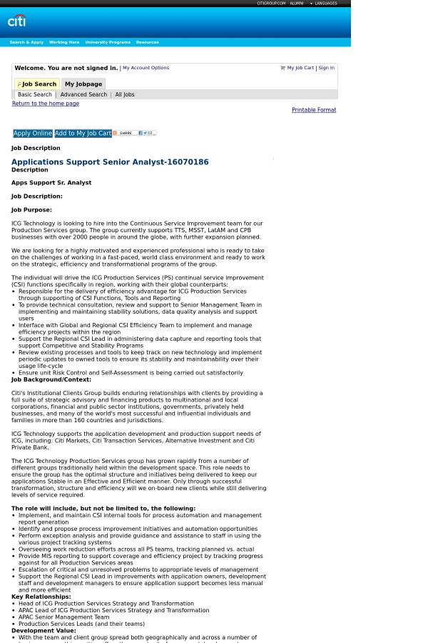 apps support sr analyst job description job description for application support - Application Development Job Description