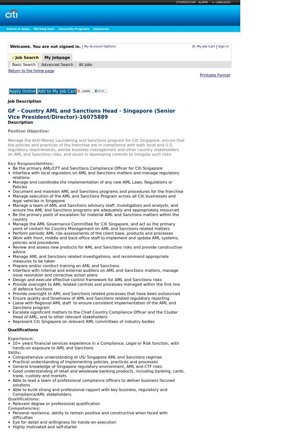 Citi: Jobs   LinkedIn