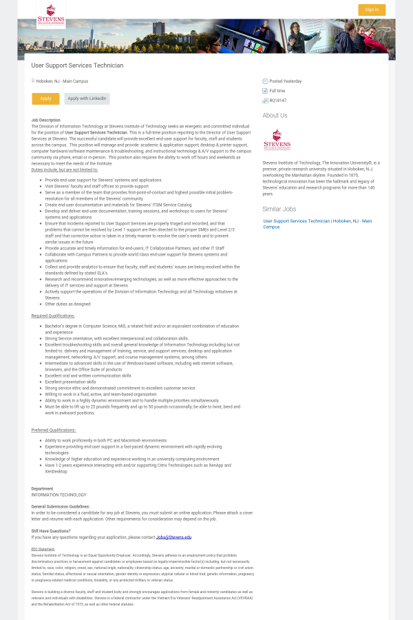 User Support Services Technician Job At Stevens Institute Of