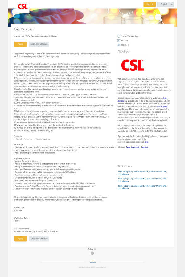 Tech Reception job at CSL Behring in Pleasant Grove, TX