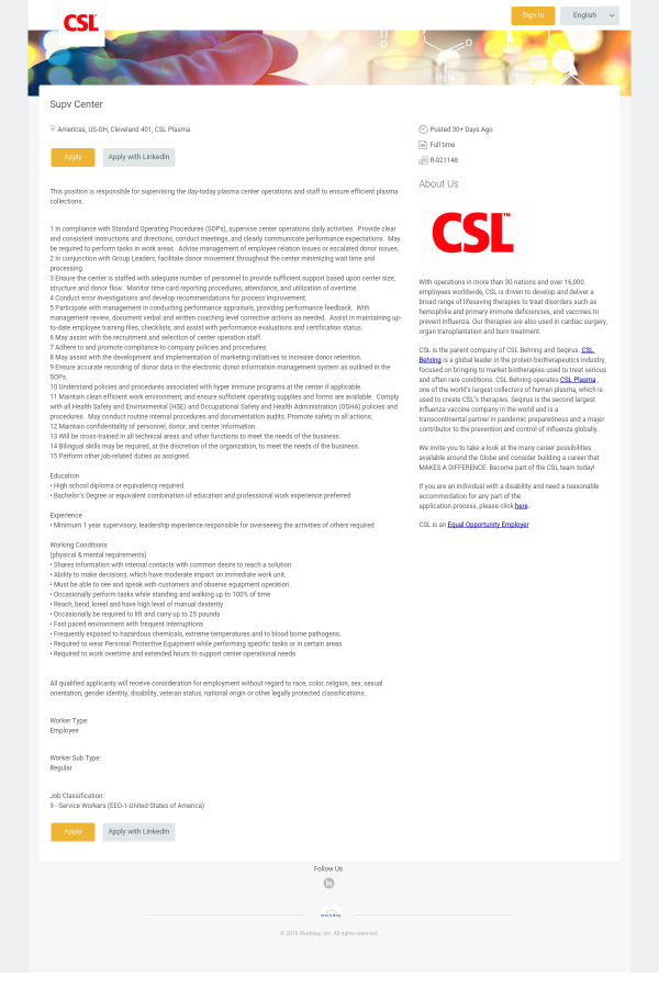 Supervisor Center job at CSL Behring in Cleveland, OH