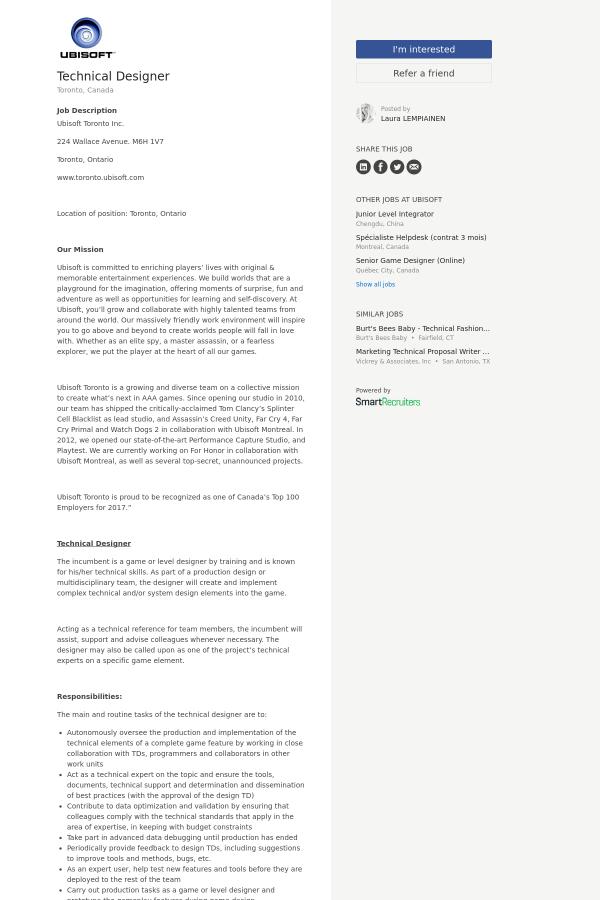 Technical Designer job at Ubisoft in Toronto Canada – Technical Writer Job Description