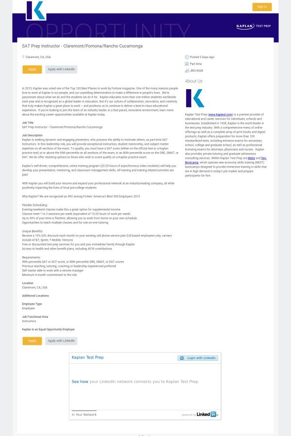 SAT Prep Instructor job at Kaplan in Claremont, CA - 5789931