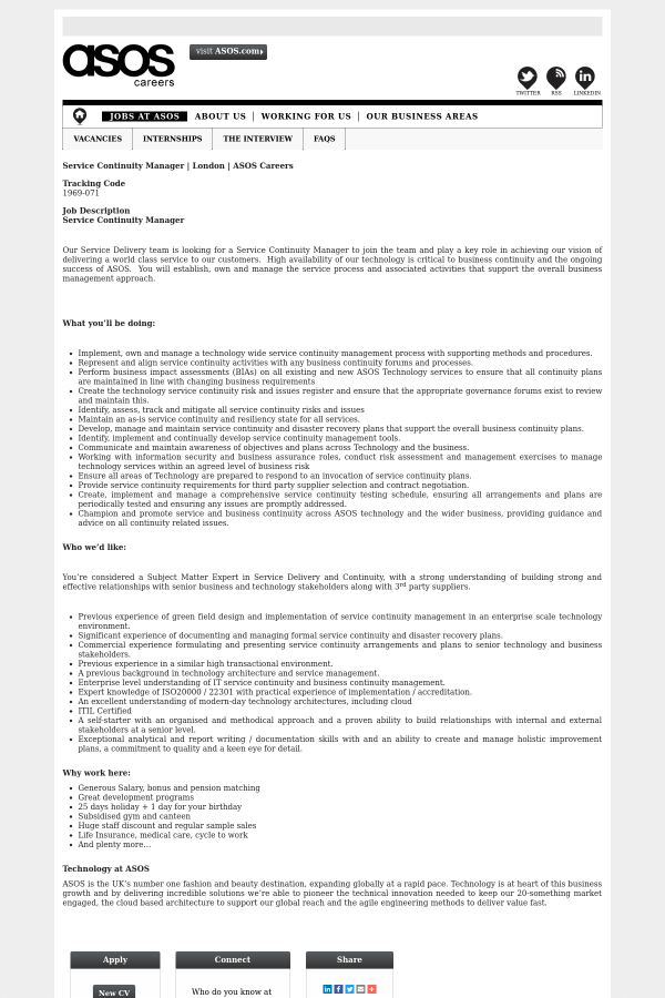 Service Continuity Manager job at ASOS in London, United Kingdom ...
