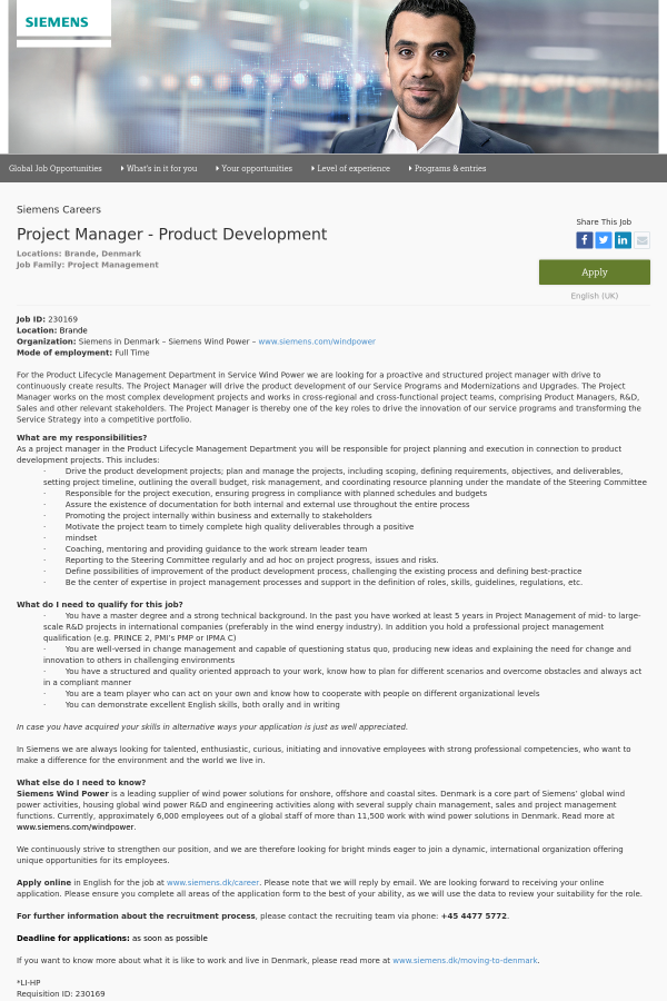 Project Manager Product Development Job At Siemens In Brande