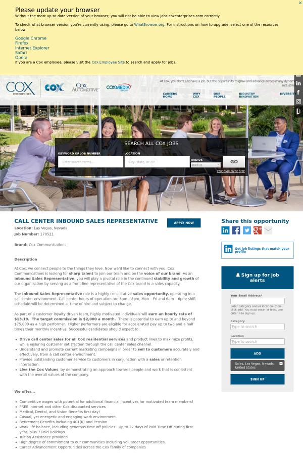Call Center Inbound Sales Representative job at Cox Communications – Inbound Sales Jobs