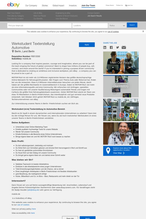 Werkstudent Texterstellung Automotive job at eBay in Berlin, Germany ...