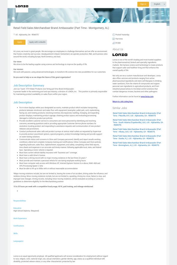 at lonza - Stockroom Job Description