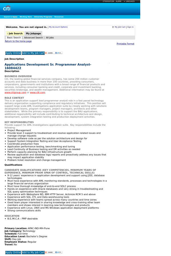 Applications Development Senior Programmer Analyst job at Citi in ...