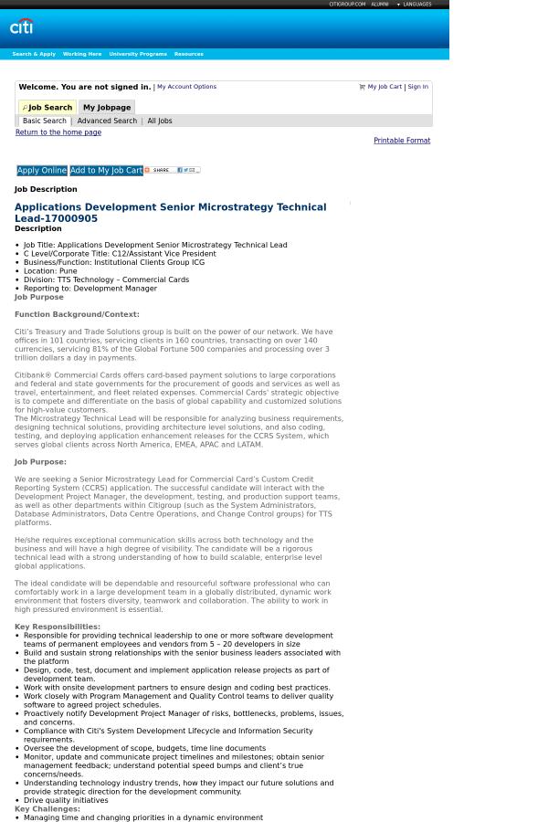 Applications Development Senior Microstrategy Technical Lead job ...
