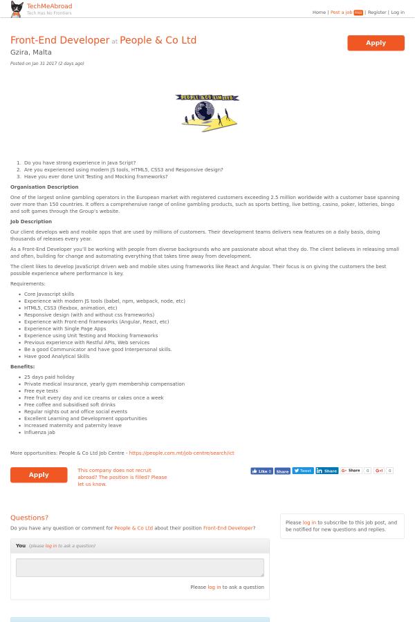 Front-End Developer job at People & Co Ltd in Malta