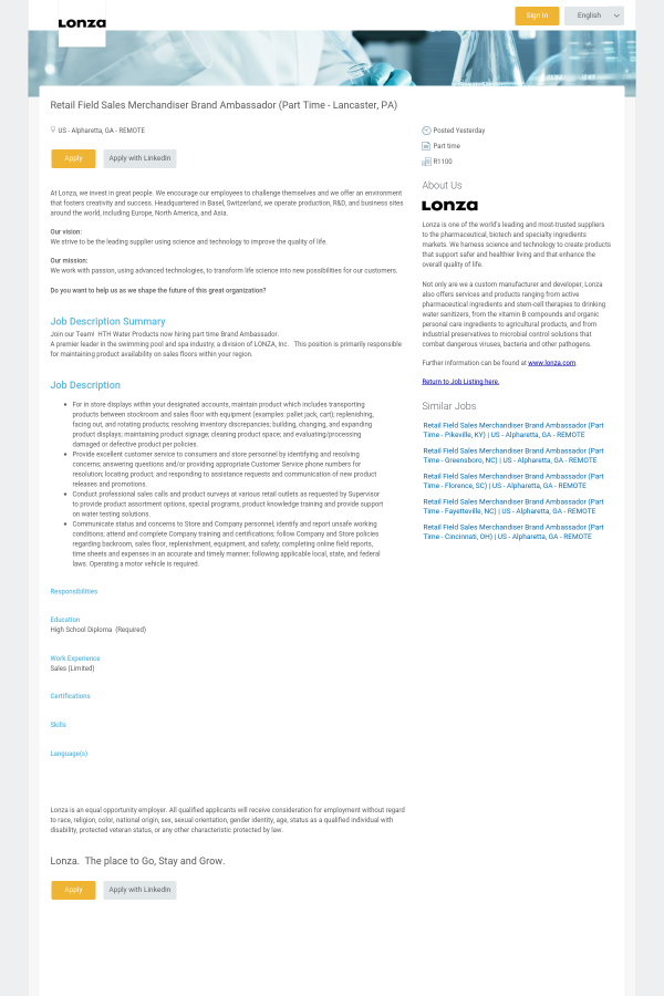 Retail Field Sales Merchandiser Brand Ambassador Lancaster PA – Stockroom Job Description