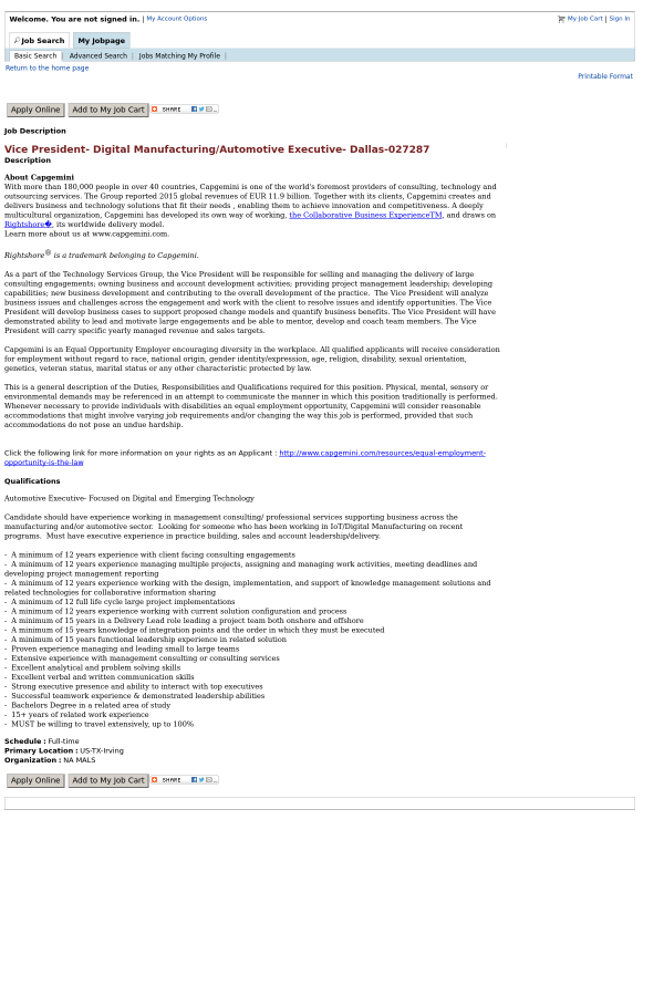 looking - Vice President Of Manufacturing Job Description