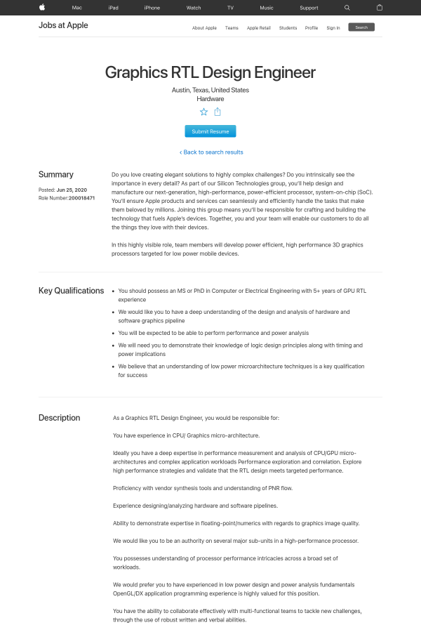 Graphics Rtl Design Engineer Job At Apple In Austin Tx 6408974 Tapwage Job Search