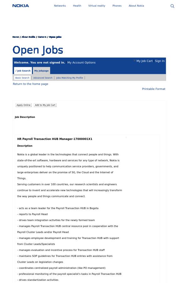 HR Payroll Transaction HUB Manager job at Nokia in Bogot – Hr Payroll Job Description