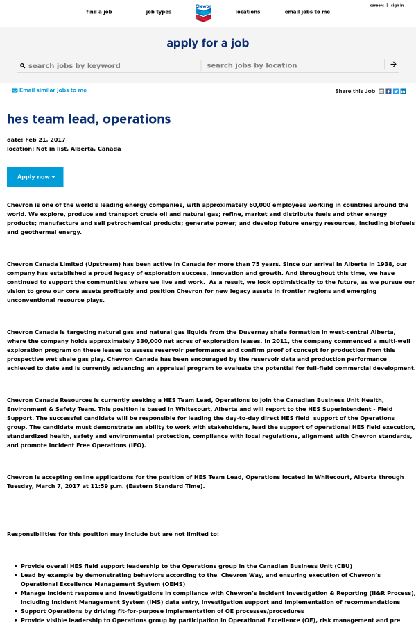 HES Team Lead, Operations job at Chevron in Alberta, Canada