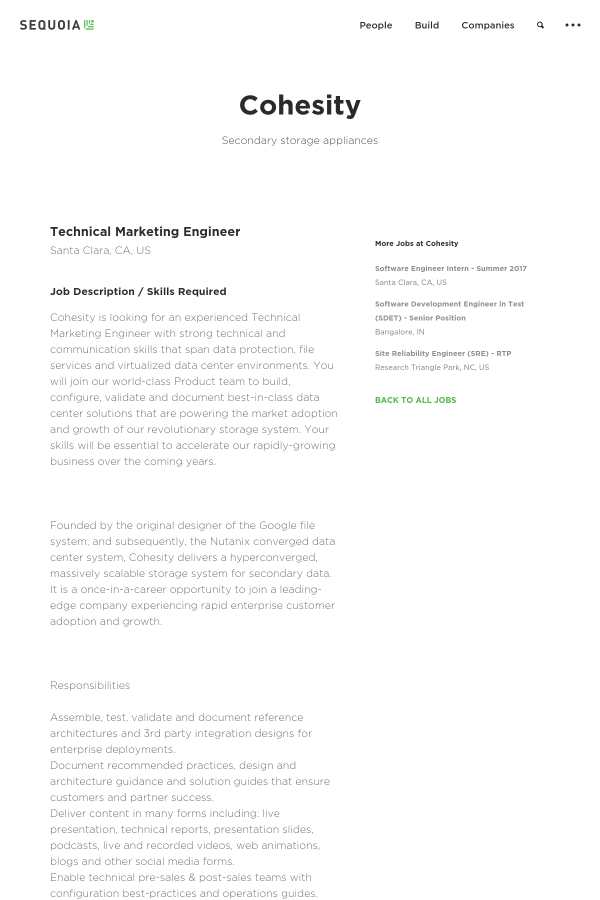 Technical Marketing Engineer job at Cohesity in Santa Clara CA – Technical Engineer Job Description