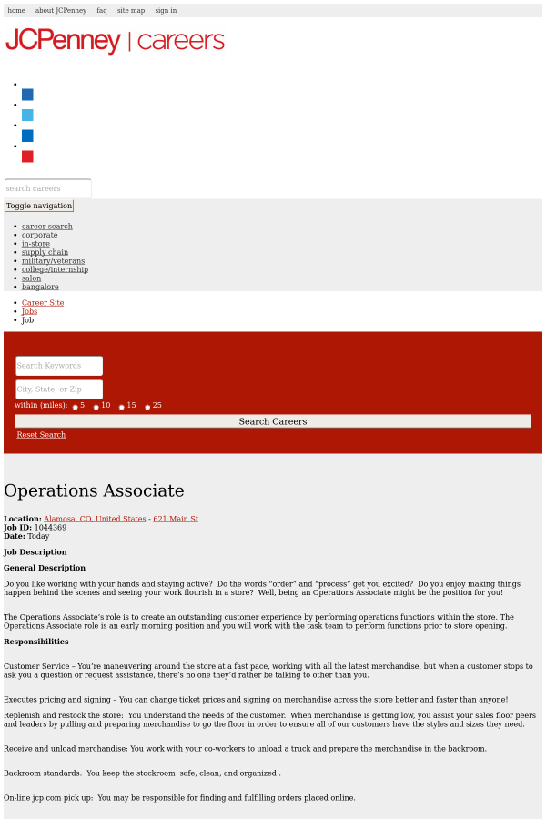 Operations Associate job at JCPenney in Alamosa CO – Stockroom Job Description