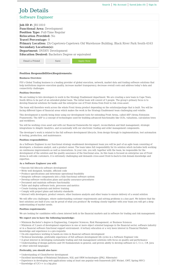 position responsibilitiesrequirements - Responsibilities Of A Software Engineer