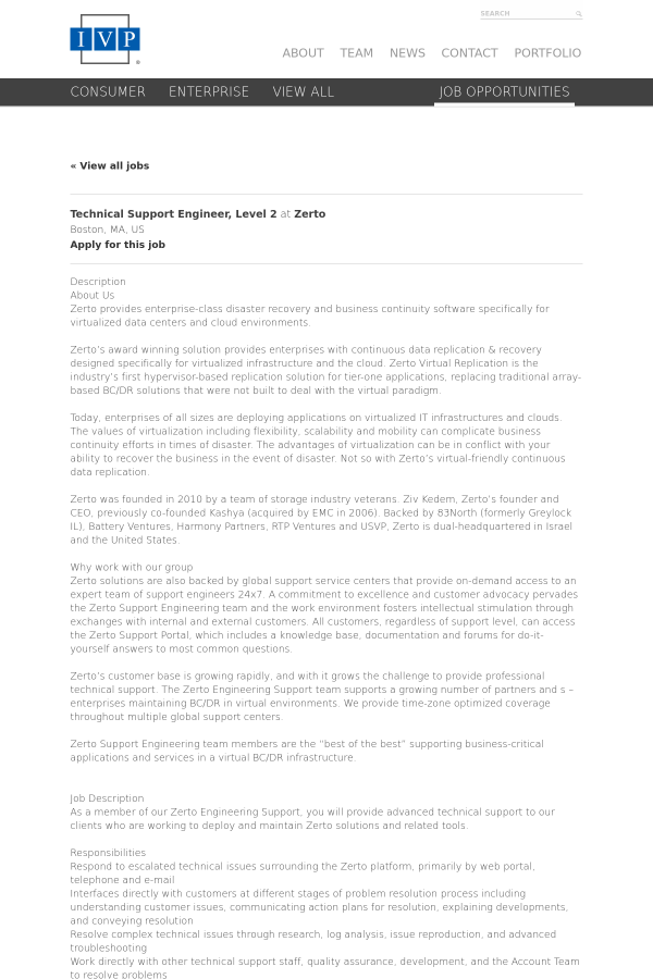 Technical Support Engineer, Level 2 job at Zerto in Boston, MA ...
