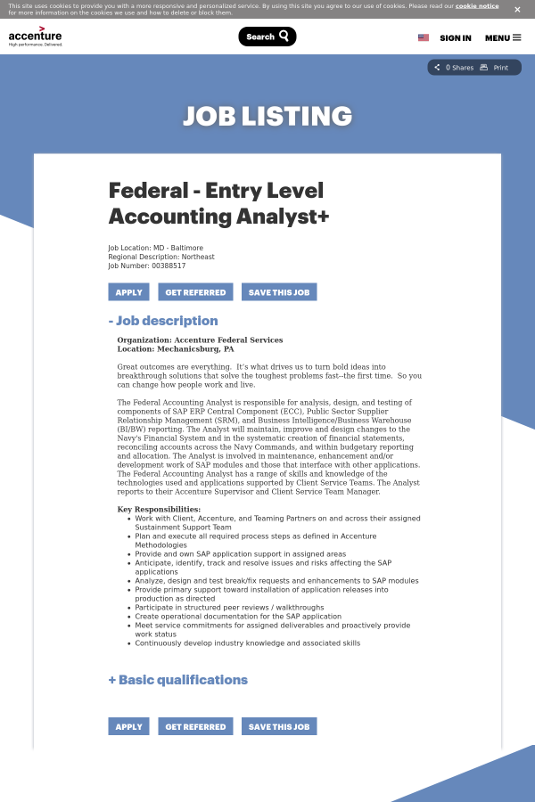 Federal - Entry Level Accounting Analyst + job at Accenture in ...