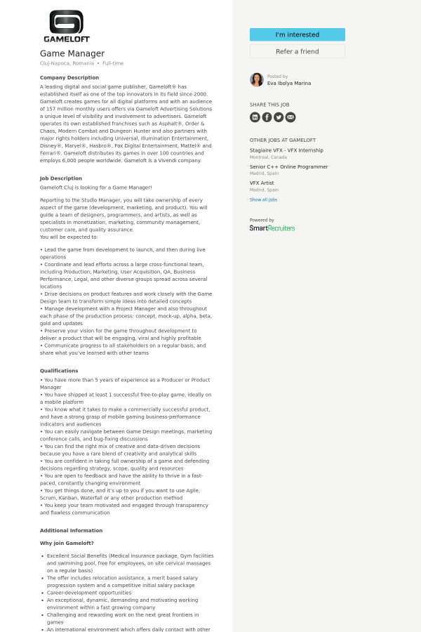 Game Manager job at Gameloft in Cluj-Napoca, Romania | Tapwage Job ...