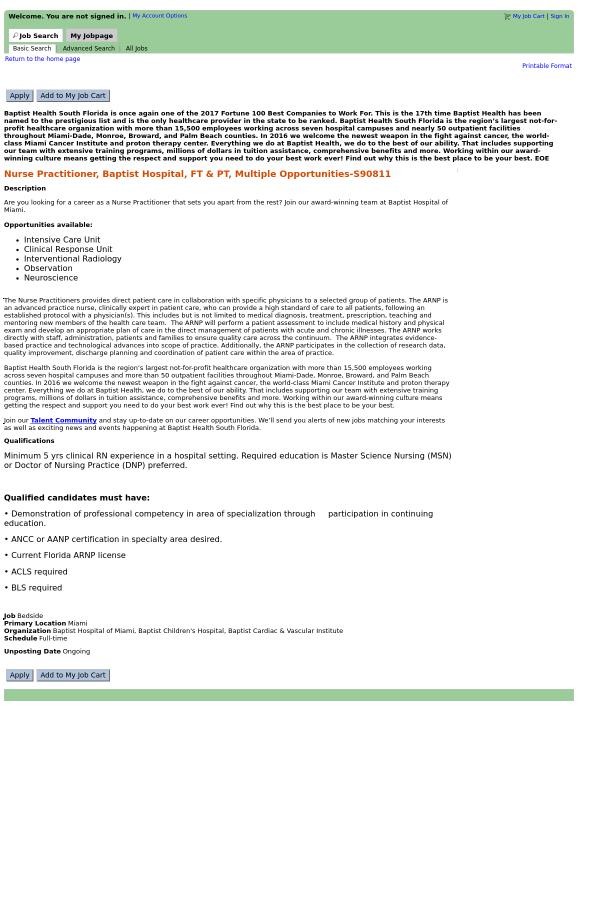 Baptist hospital application
