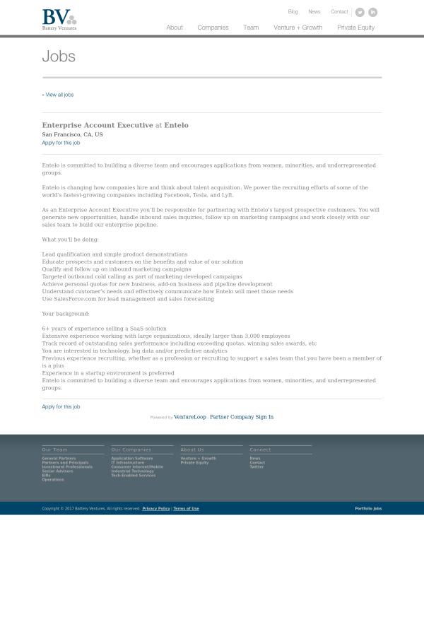 Enterprise Account Executive job at Entelo in San Francisco CA – Inbound Sales Jobs