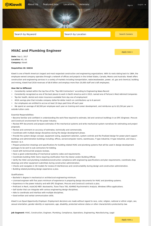 hvac and plumbing engineer job at kiewit in kansas, usa | tapwage