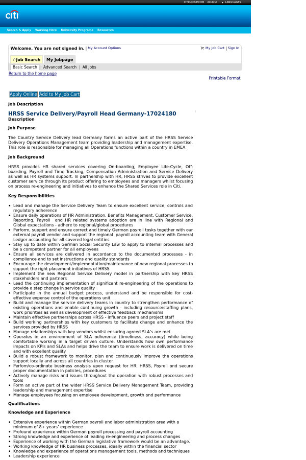 HRSS Service Delivery Payroll Head Germany job at Citi in – Hr Payroll Job Description