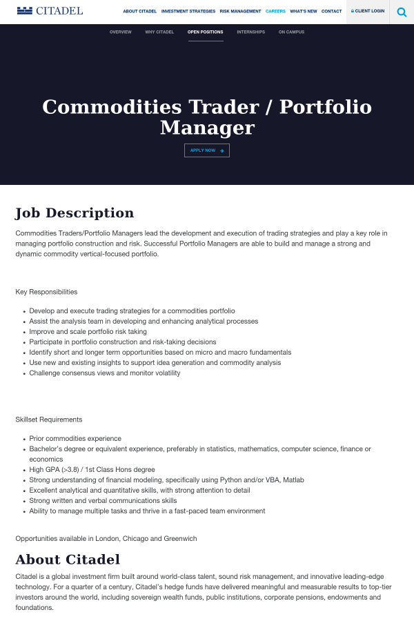 Commodities Trader / Portfolio Manager job at Citadel in