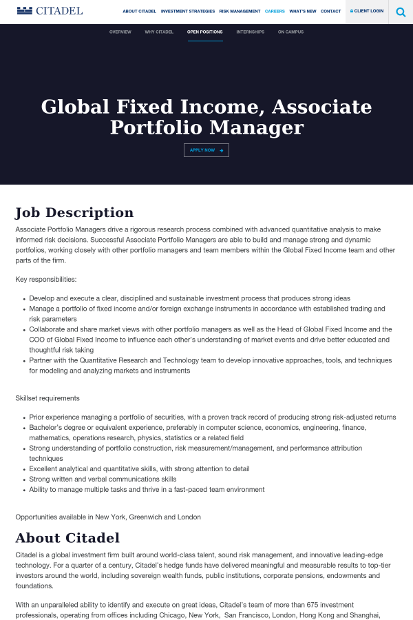 Global Fixed Income, Associate Portfolio Manager job at Citadel in