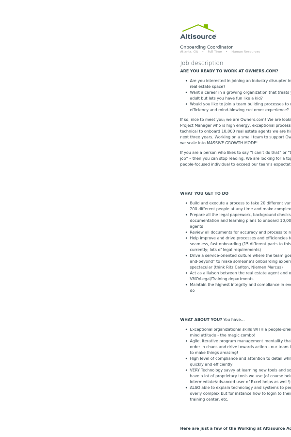 Onboarding Coordinator job at Altisource in Atlanta GA – Onboarding Specialist Job Description