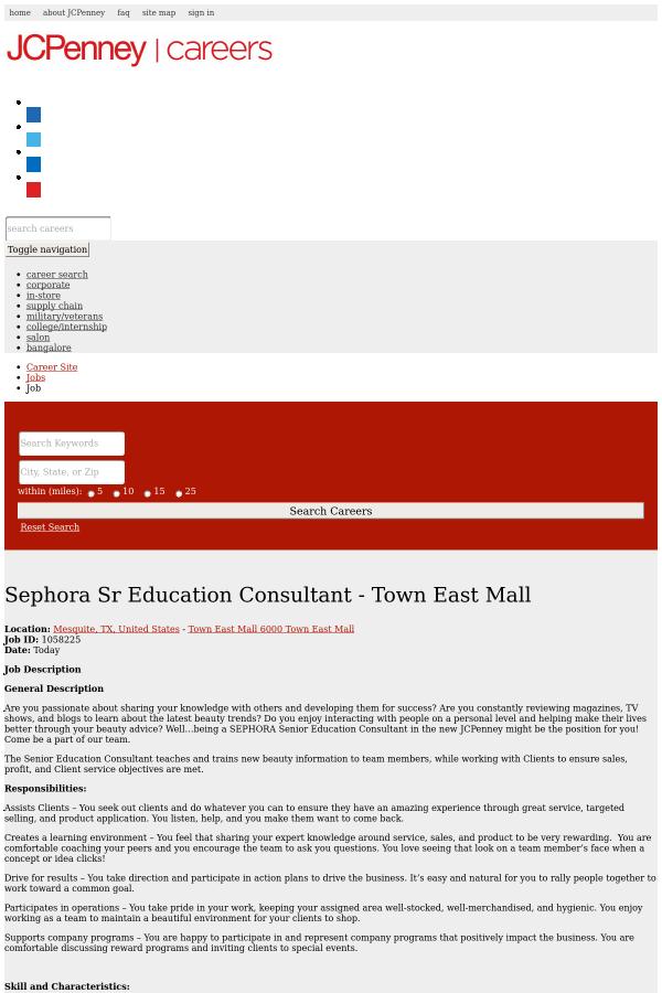 Sephora Senior Education Consultant job at JCPenney in Mesquite ...
