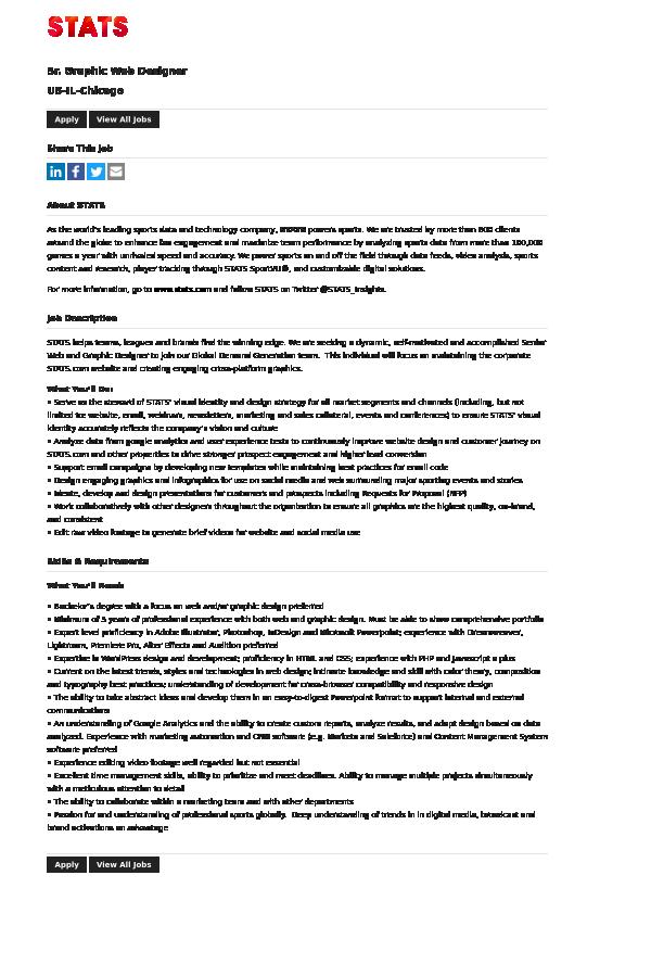 Senior Graphic Web Designer job at STATS in Chicago, IL | Tapwage ...