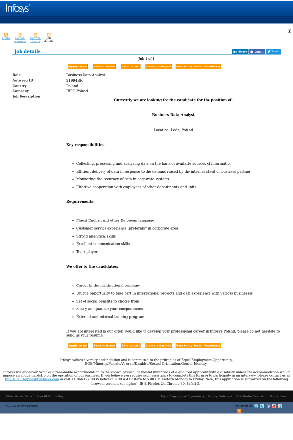 Business Data Analyst job at Infosys in Poland - 7294030